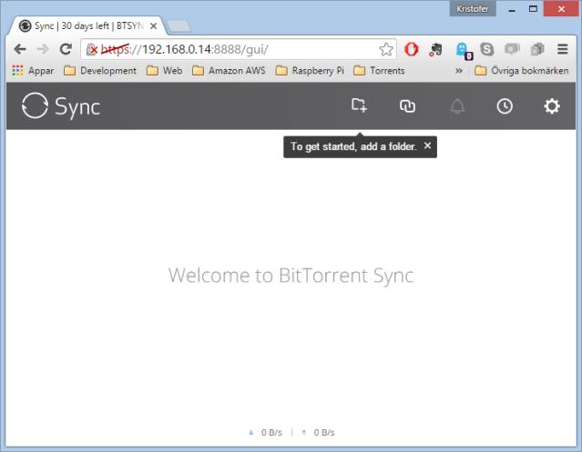 Basic BtSync Web UI